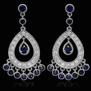 14K Gold 3.24ct Sapphire 1.45ct Diamond Earrings