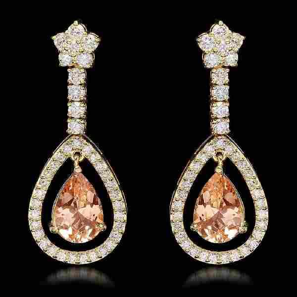 14K Yellow Gold 4.92ct Morganite and 2.66ct Diamond