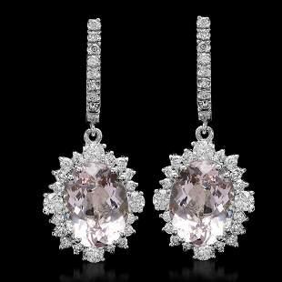 14K Gold 10.91ct Morganite 2.30ct Diamond Earrings
