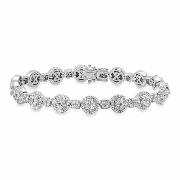14K White Gold and 3.98ct Diamond Bracelet