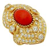 14k Yellow Gold 5.10ct Coral 1.59ct Diamond Ring