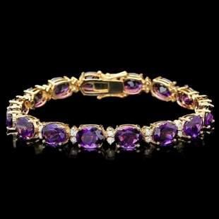 14k Gold 28.75ct Amethyst 1.25ct Diamond Bracelet