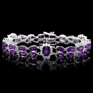 14K Gold 31.12ct Amethyst 1.35ct Diamond Bracelet