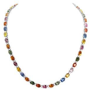 14k White Gold 42.44ct Sapphire 1.63ct Diamond Necklace
