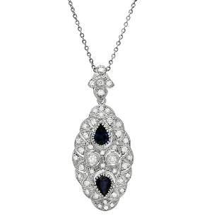 14k White Gold 2.56ct Sapphire 1.98ct Diamond Necklace