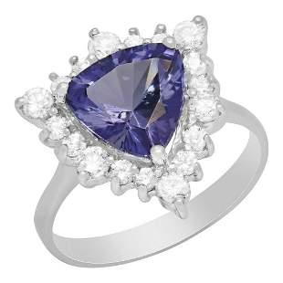 4k White Gold 2.70ct Tanzanite 0.67ct Diamond Ring