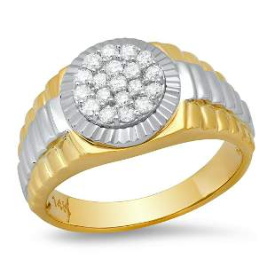 14k Yellow and White Gold with 0.52ct Diamonds Mens