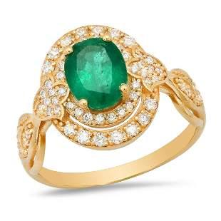 14K Yellow Gold 1.56ct Emerald and 0.56ct Diamond Ring