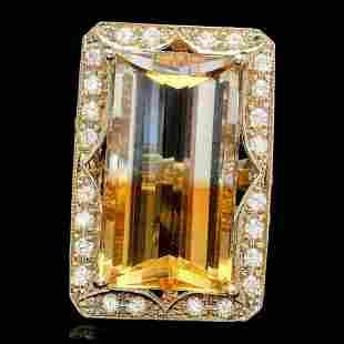 14K Yellow Gold 27.65ct Citrine and 1.14ct Diamond Ring