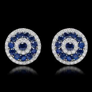 14K White Gold 4.54ct Sapphire and 1.66ct Diamond