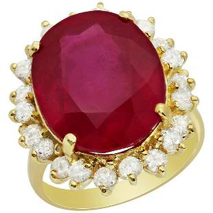 14k Yellow Gold 17.50ct Ruby 1.33ct Diamond Ring