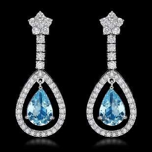 K White Gold 4.58ct Aquamarine and 2.66ct Diamond