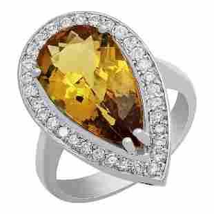 14k White Gold 5.31ct Yellow Beryl 0.66ct Diamond Ring