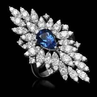 14K White Gold 2.60ct Sapphire and 3.26ct Diamond Ring