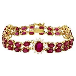 14k Yellow Gold 29.67ct Ruby 1.64ct Diamond Bracelet