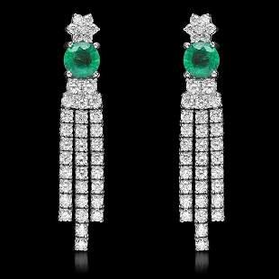 18K White Gold 1.66ct Emerald and 2.57ct Diamond