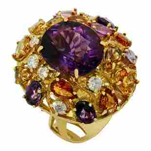 14k Yellow Gold 8.85ct Amethyst 5.42ct Multi-Stone