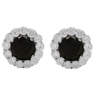 4k White Gold 2.65ct & 1.78ct Diamond Earrings
