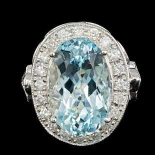 14K White Gold 6.99ct Aquamarine and 1.64ct Diamond