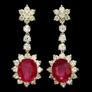 14K Yellow Gold 9.36ct Ruby and 3.82ct Diamond Earrings