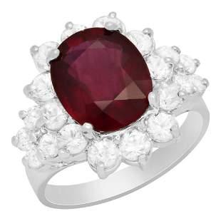 14k White Gold 4.71ct Ruby 1.58ct White Sapphire 0.44ct