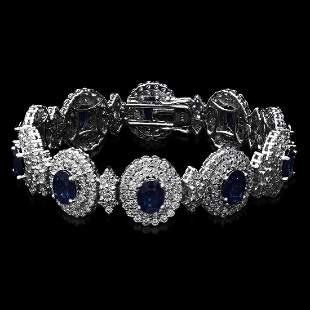 14K White Gold 21.90ct Sapphire and 12.55ct Diamond