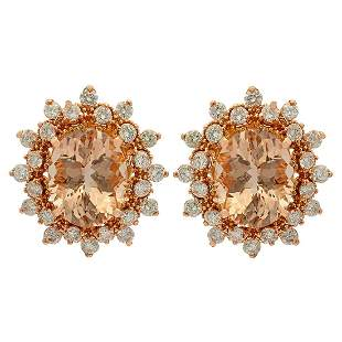 14k Rose Gold 5.05ct Morganite 1.68ct Diamond Earrings