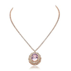14K Rose Gold 16.85ct Kunzite and 11.20ct Diamond