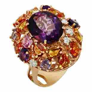 14k Rose Gold 8.75ct Amethyst 6.14ct Multi-Stone 0.76ct