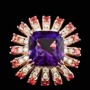 14K Rose Gold 7.41ct Amethyst 2.53ct Sapphire and