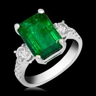 18k White Gold 3.57ct Emerald 0.66ct Diamond Ring