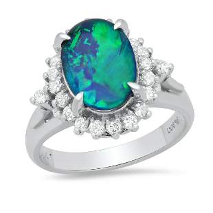 Platinum Ladies Ring with 1.83ct Opal and 0.41ct