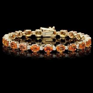 14K Yellow Gold 15.40ct Orange Sapphire and 0.85ct