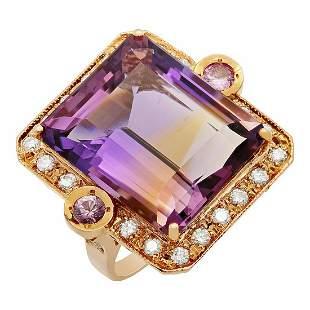 14k Rose Gold 25.80ct Amethyst 0.30ct Pink Sapphire