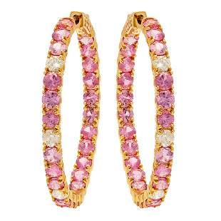 14k Yellow Gold 8.21ct Pink Sapphire 0.87ct Diamond