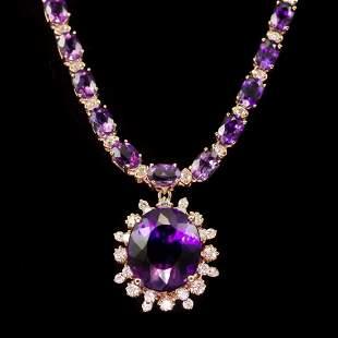 14K Gold 30.86ct Amethyst 2.52ct Diamond Necklace
