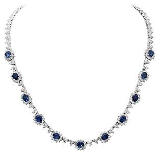 14k White Gold 7.94ct Sapphire 8.82ct Diamond Necklace