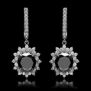 14K White Gold 7.50ct Black Diamond and 1.38ct Diamond