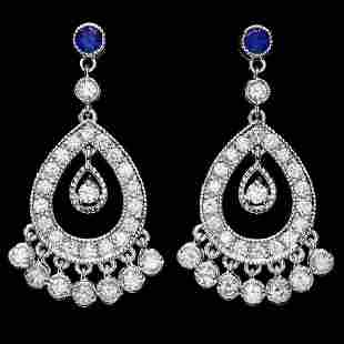 14K White Gold 0.66ct Sapphire and 2.88ct Diamond