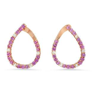 14K Rose Gold with 4.57ct Pink Sapphire and 1.00ct