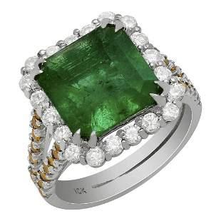 14k White Gold 4.06ct Emerald 1.00ct & 0.38ct Diamond