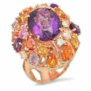 14K Rose Gold 8.55ct Amethyst 6.46ct Sapphire and