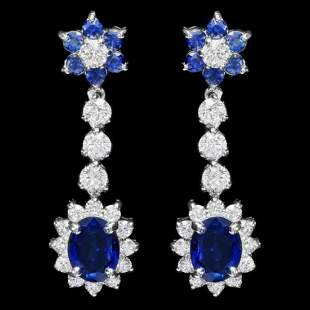 14K Gold 4.08ct Sapphire 2.02ct Diamond Earrings
