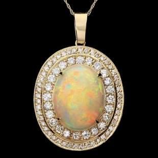 14K Gold 9.89ct Opal 2.38ct Diamond Pendant