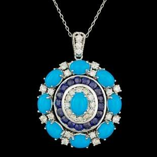 14K White Gold 8.81ct Turquoise 2.57ct Sapphire 1.59ct
