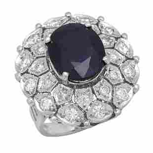 14K White Gold 8.99ct Sapphire and 1.79ct Diamond Ring