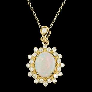 14K Gold 0.89ct Opal 0.66ct Diamond Pendant