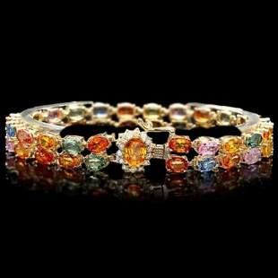 14K Gold 27.21ct Sapphire 0.34ct Diamond Bracelet