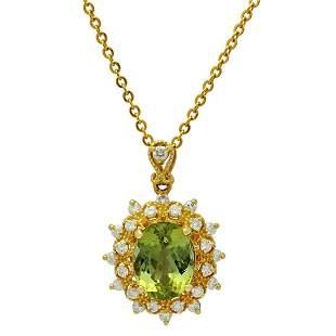 14k Yellow Gold 4.12ct Green Tourmaline 0.61ct Diamond