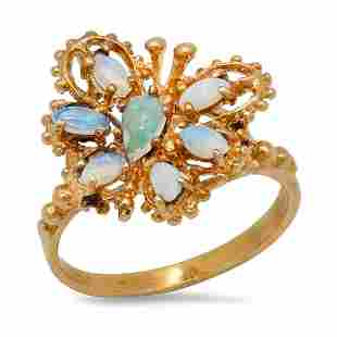 14K Yellow Gold Opal Ladies Butterfly Ring